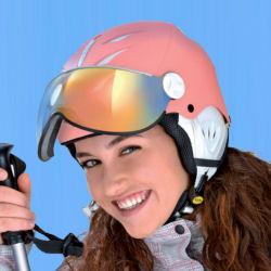kinder skihelm met vizier in opvallende roze kleur