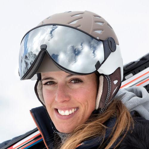 mooie skihelm met vizier voor dames - de CP Cuma Cashmere bij TopSnowSHop.nl
