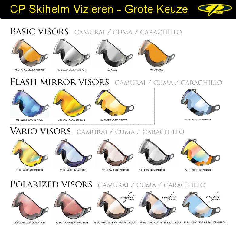 Los Skihelm Vizier CP | In Vele Kleuren en Soorten, ook een Meekleurend Vizier en Polariserend Vizier