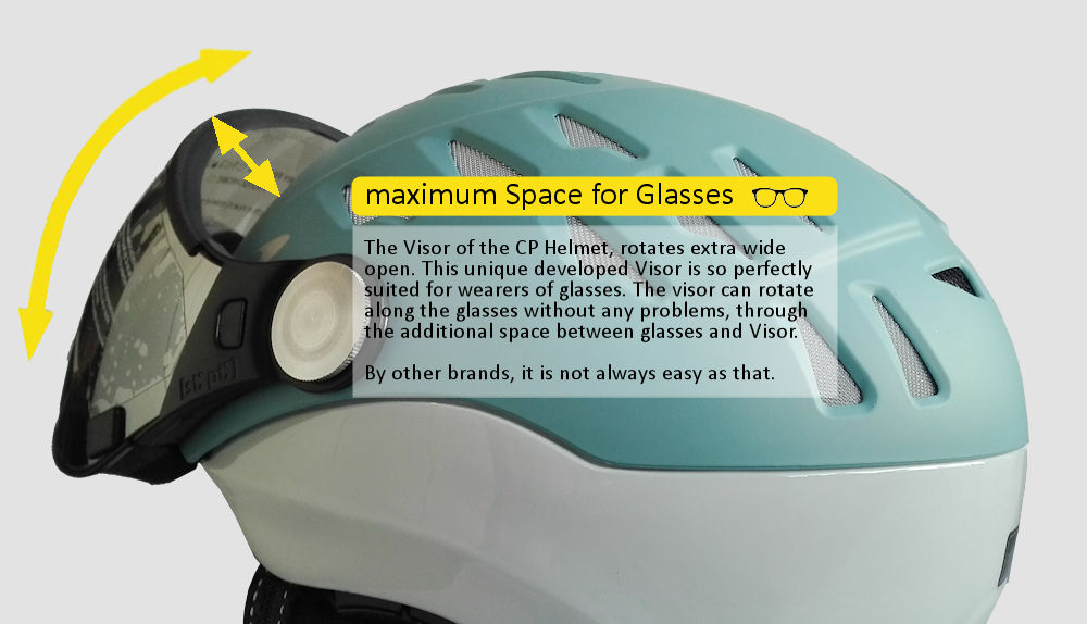 Best ski helmet with visor for spectacle wearers men or women then CP is the no.1 helmet for spectacle wearers