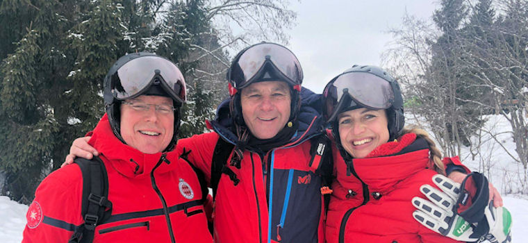 Proud owners of a CP ski helmet with visor - Prince Albert of Monaco and Formula 1 driver Gerhard Berger with his wife