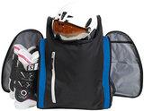 skischoenentas skhelm tas race zwart blauw open
