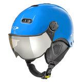 CP Carachillo XS skihelm blue blauw blue glimmend - kinder skihelm met spiegel vizier - dames skihelm met vizier - kinder ski