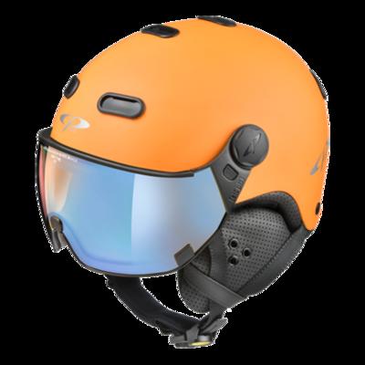 CP Skihelm met Vizier Oranje Zwart - CP Carachillo - Meekleurend Polariserend Spiegel vizier (❄/☁/☀)