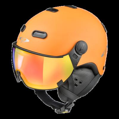 CP Skihelm met Vizier Oranje Zwart - CP Carachillo - Meekleurend Spiegel vizier (❄/☁/☀)