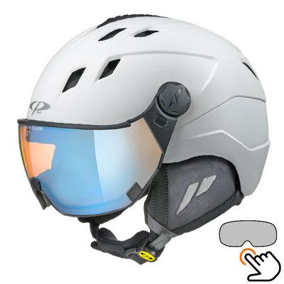 CP Corao+ skihelm wit met meekleurend & polariserend vizier (3 Keuzes) - zeer veilig