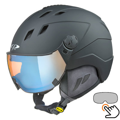CP Corao+ skihelm zwart met meekleurend & polariserend vizier (3 Keuzes) - zeer veilig