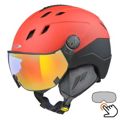 CP Corao+ skihelm rood met single spiegel vizier (2 Keuzes) - zeer veilig