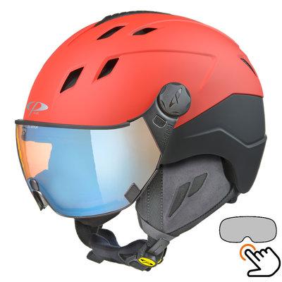 CP Corao+ skihelm rood met meekleurend & polariserend vizier (3 Keuzes) - zeer veilig