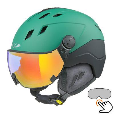 CP Corao+ skihelm groen met single spiegel vizier (2 Keuzes) - zeer veilig