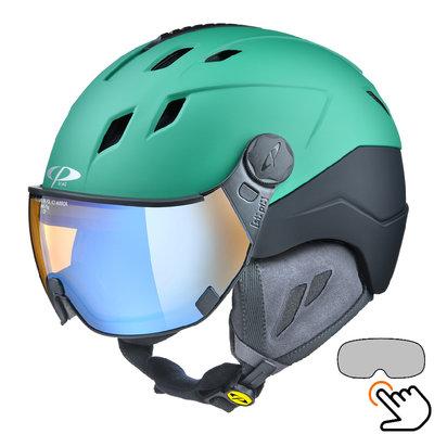 CP Corao+ skihelm groen met meekleurend & polariserend vizier (3 Keuzes) - zeer veilig