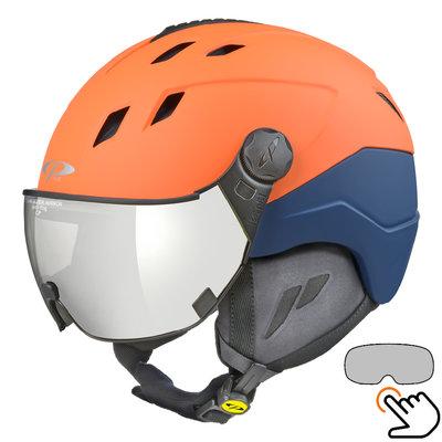 CP Corao+ skihelm oranje met single spiegel vizier (2 Keuzes) - zeer veilig