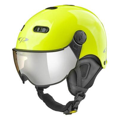 CP Carachillo XS skihelm fluo geel glimmend - helm met spiegel vizier (☁/❄/☀)