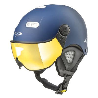 CP Carachillo XS skihelm blauw mat - helm met spiegel vizier (☁/☀)