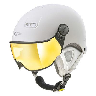 CP Carachillo XS skihelm wit mat - helm met spiegel vizier (☁/☀)