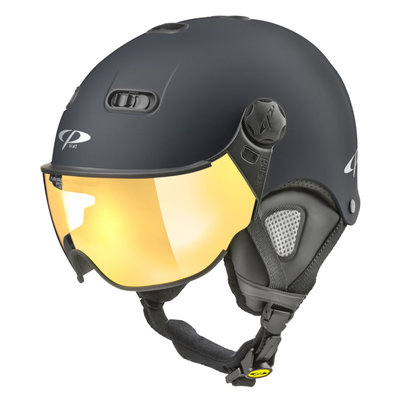 CP Carachillo XS skihelm zwart mat - helm met spiegel vizier (☁/☀)