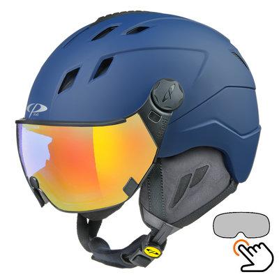 CP Corao+ skihelm blauw met single spiegel vizier (2 Keuzes) - zeer veilig