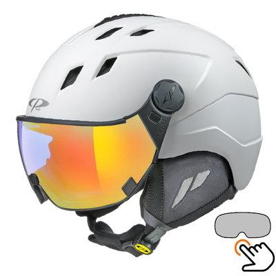 CP Corao skihelm wit met single spiegel vizier (2 Keuzes) - zeer veilig