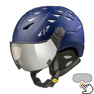 CP Cuma Swarovski skihelm blauw - meekleurend vizier (4 Keuzes)