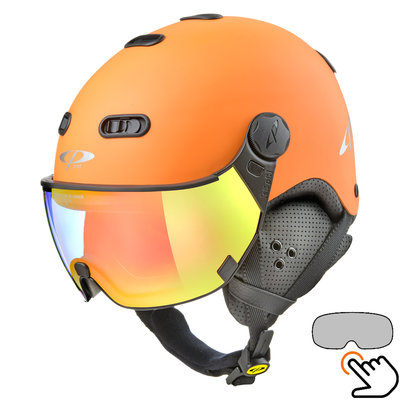 CP Carachillo oranje skihelm - meekleurend Vizier (4 Keuzes)