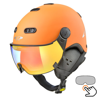 CP Carachillo skihelm oranje met single spiegel vizier (2 Keuzes)