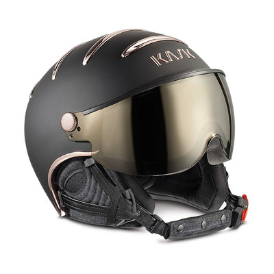 Skihelm Kask chrome  - black pink gold - gold mirror Vizier ☀