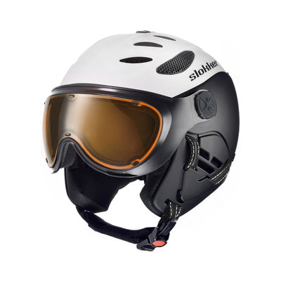 SLOKKER BALO SKIHELM - WHITE - PHOTOCHROMIC POLARIZED VIZIER CAT.1-2 - (☁/☀/❄)