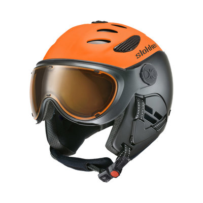 Skihelm Slokker  balo  - orange - photochromic polarized Vizier  (☁/☀/❄)