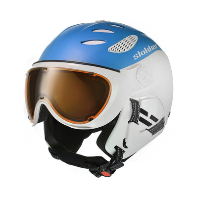 SLOKKER BALO SKIHELM MET VIZIER - BLUE - PHOTOCHROMIC POLARIZED VIZIER CAT.1-2 (☁/☀/❄)
