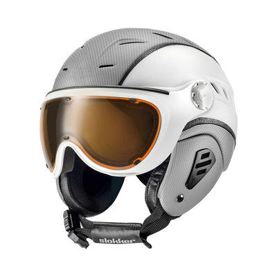 Skihelm Slokker  bakka  - silver white - photochromic polarized Vizier (☁/☀/❄)