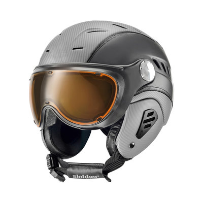 SLOKKER BAKKA SKIHELM - SILVER BLACK - PHOTOCHROMIC POLARIZED VIZIER CAT.1-2 (☁/☀/❄)