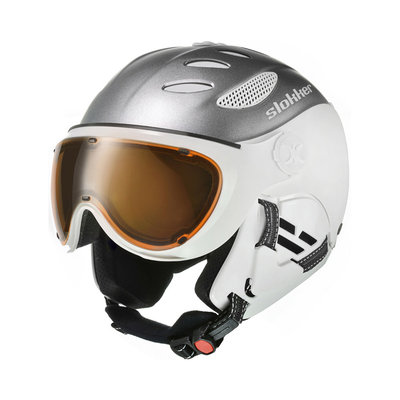 SLOKKER BALO SKIHELM - SILVER - PHOTOCHROMIC POLARIZED VIZIER CAT. 1-2 (☁/☀/❄)