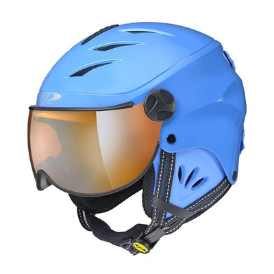 Skihelm met Vizier Kind - CP Camulino blue shiny - orange Visor cat. 1 (☁/❄)