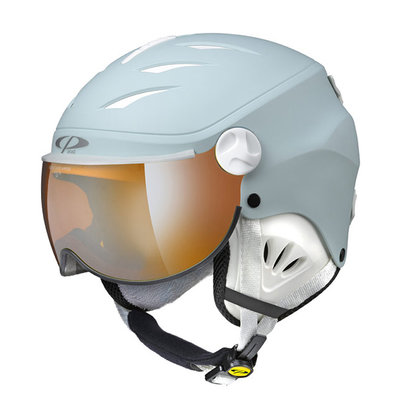 CP CAMULINO SKIHELM KIND - LIGHT BLUE - ORANGE SILVER MIRROR VIZIER CAT. 2 - (☁/☀/❄)
