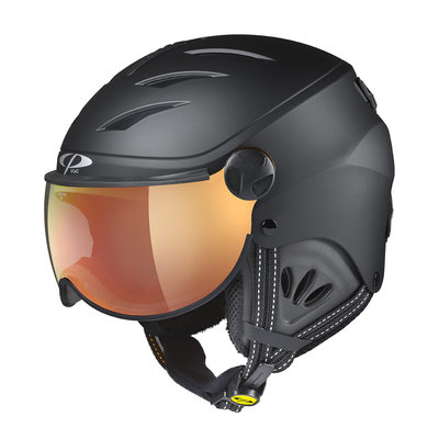 skihelm met vizier kind - CP Camulino Black Soft Touch - flash gold mirror Visor cat. 3 - (☀)