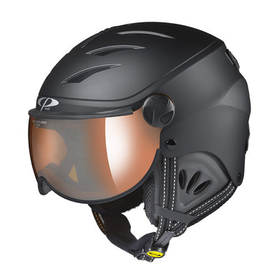 CP CAMULINO SKIHELM KIND - BLACK - ORANGE SILVER MIRROR VIZIER CAT. 2 - (☁/☀/❄)