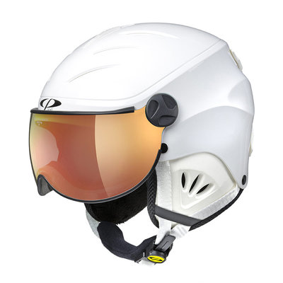 CP CAMULINO SKIHELM KIND - WHITE SHINY - FLASH GOLD MIRROR VIZIER Cat.3 - (☀)