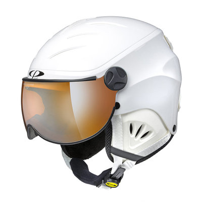 Skihelm met Vizier Kind - CP Camulino white shiny - orange Visor cat. 1 (☁/❄)