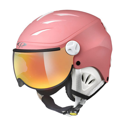 CP CAMULINO SKIHELM KIND - PINK LEMONADE WHITE - FLASH GOLD MIRROR VIZIER CAT.3 - (☀)