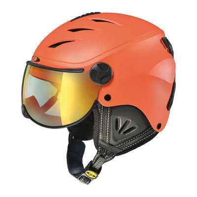 CP CAMULINO SKIHELM KIND - CARROT BLACK - FLASH GOLD MIRROR VIZIER Cat.3 - (☀)