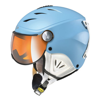 CP CAMULINO SKIHELM KIND - DUSK BLUE WHITE - FLASH GOLD MIRROR VIZIER Cat.3 - (☀)
