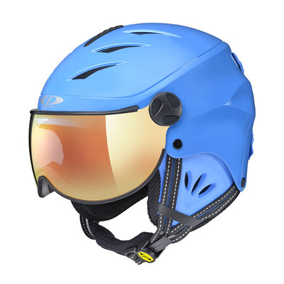 CP CAMULINO SKIHELM KIND - BLUE SHINY BLUE - FLASH GOLD MIRROR VIZIER Cat.3 - (☀)