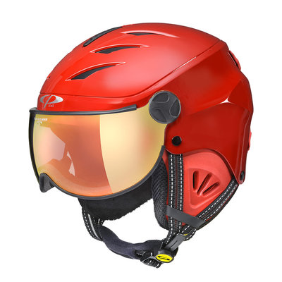 CP CAMULINO SKIHELM KIND - RED SHINY RED - FLASH GOLD MIRROR VIZIER Cat.3 - (☀)