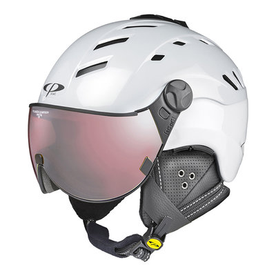 Skihelm CP camurai  - pearl wit shiny - polariserend clear vision Vizier cat.2 - (☁/❄/☀)