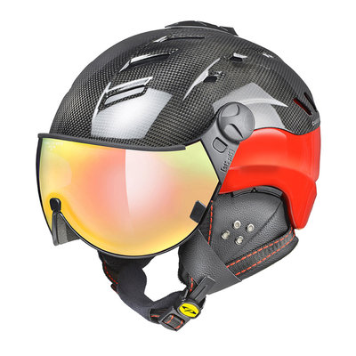 Skihelm CP camurai  - dark carbon shiny rood - dl meekleurend multicolour mirror visier cat. 2-3 - (☁/❄/☀)