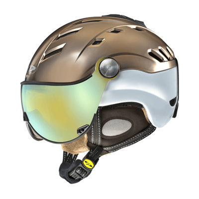 Skihelm CP camurai crs  - bronce satin wit shiny - dl meekleurend multicolour mirror Vizier cat.2-3 -(☁/❄/☀)