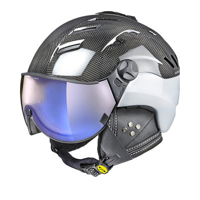 Skihelm CP camurai  - carbon shiny wit - dl meekleurend blue mirror Vizier - cat. 1-3 (☁/❄/☀)