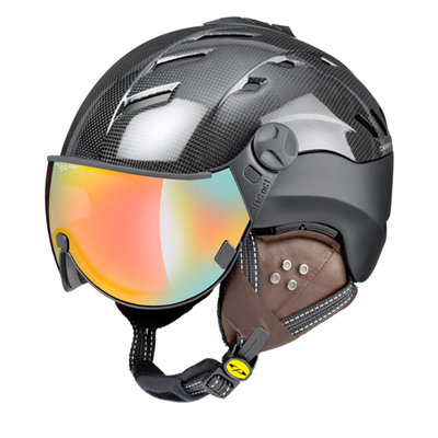Skihelm CP camurai  - dark carbon shiny zwart - dl meekleurend multicolour mirror Vizier cat.2-3 - (☁/❄/☀)