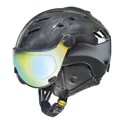 Skihelm CP camurai  - dark carbon shiny zwart - dl meekleurend  multicolour mirror Vizier cat. 2-3 - (☁/❄/☀)