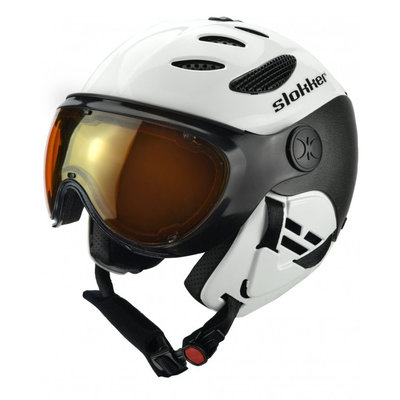 Skihelm Slokker  balo  - white - photochromic polarized Vizier (☁/☀/❄)